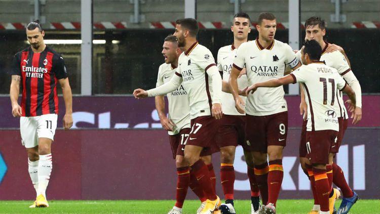 Berikut hasil pertandingan antara AC Milan vs AS Roma dalam lanjutan pekan ke-5 Serie A Italia 2020/21, Selasa (27/08/20) dini hari WIB. Copyright: © Marco Luzzani/Getty Images