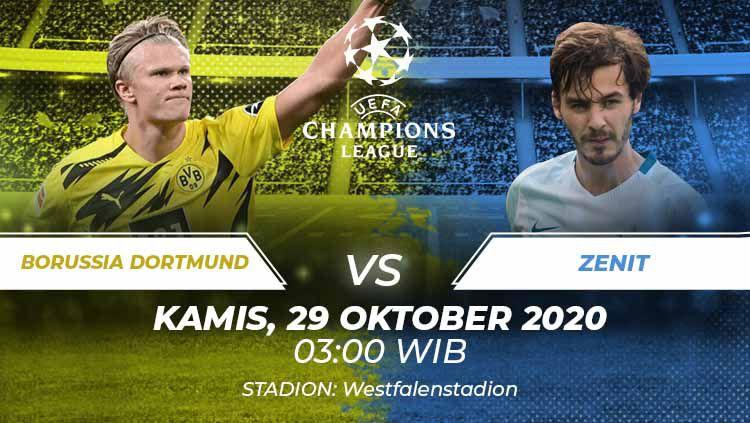 Berikut prediksi pertandingan Liga Champions antara Borussia Dortmund lawan Zenit Saint Petersburg. Copyright: © Grafis:Frmn/Indosport.com