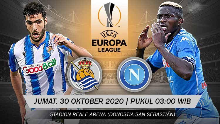 Berikut prediksi pertandingan matchday kedua Grup F Liga Europa antara Real Sociedad melawan Napoli, Kamis (29/10/20) dini hari WIB. Copyright: © Grafis: Yanto/Indosport.com