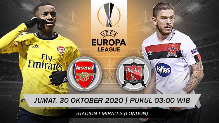 Berikut link live streaming pertandingan match 2 Grup B Liga Europa musim 2020/2021 yang akan mempertemukan Arsenal vs Dundalk Copyright: © Grafis: Yanto/Indosport.com