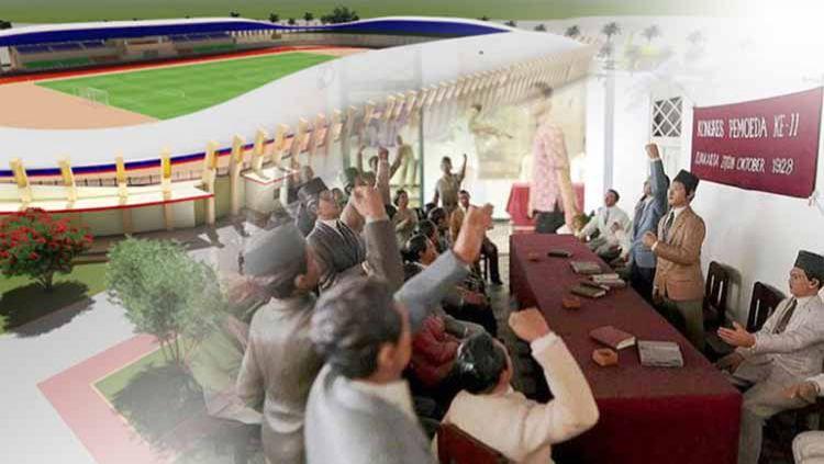 Di Indonesia, terdapat sejumlah stadion sepak bola yang terinspirasi dari Sumpah Pemuda dan para tokoh-tokohnya. Copyright: © Foto: Kolase/metrotimenews/travelkompas