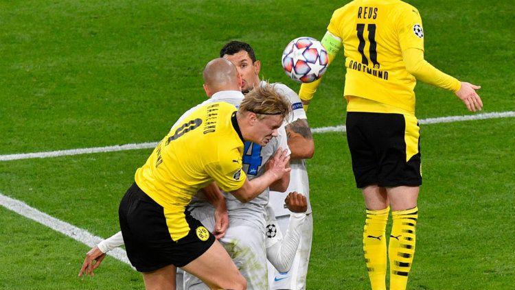 Berikut ini hasil pertandingan Grup F Liga Champions di mana Borussia Dortmund mengalahkan Zenit St Petersburg lewat gol Jadon Sancho dan Erling Haaland. Copyright: © Martin Meissner - Pool/Getty Images