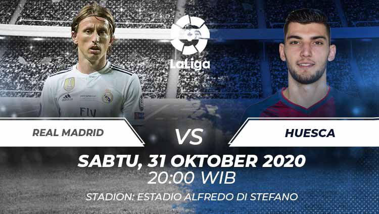Berikut tersaji prediksi pertandingan Real Madrid vs Huesca di Estadia Alfredo Di Stefano dalam lanjutan LaLiga Spanyol 2020/21. Copyright: © Grafis:Frmn/Indosport.com