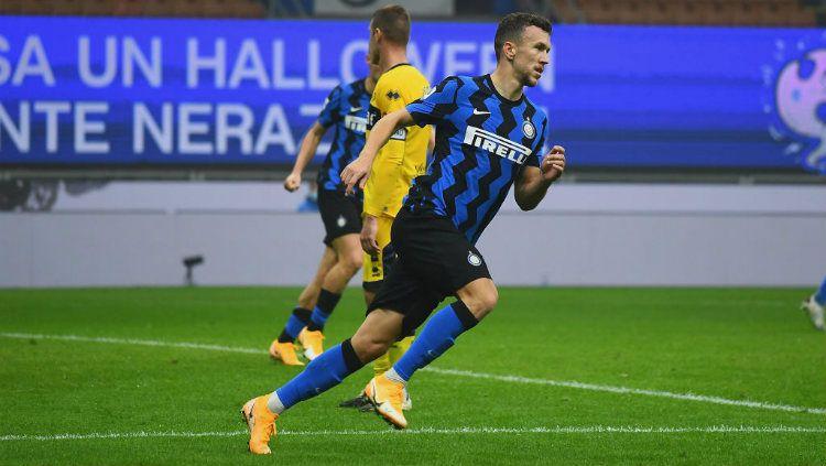 Selebrasi gol Ivan Perisic dalam lanjutan Liga Italia Inter Milan vs Parma. Copyright: © Claudio Villa - Inter/Inter via Getty Images