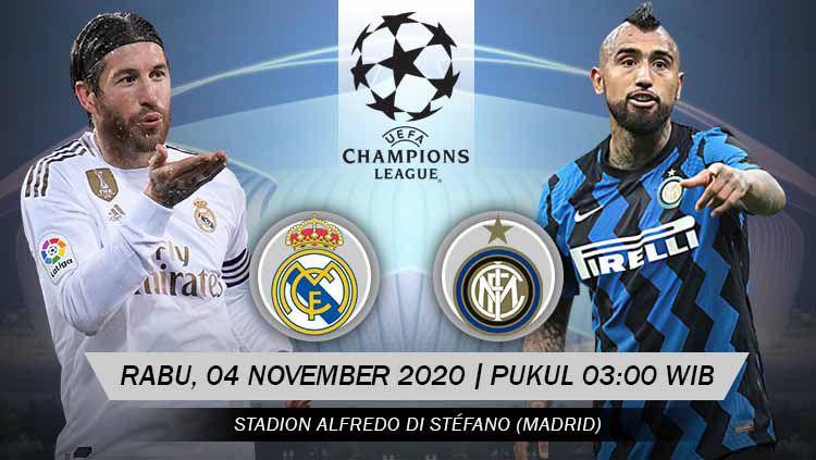 Duel antarlini laga bigmatch pekan ketiga Grup B Liga Champions Eropa 2020/2021 antara Real Madrid vs Inter Milan. Copyright: © Grafis: Yanto/Indosport.com