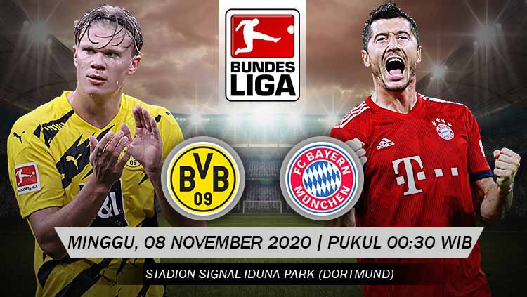 Berikut prediksi pertandingan pekan ke-7 Bundesliga Jerman antara Borussia Dortmund menghadapi Bayern Munchen di Stadion Signal Iduna Park, Minggu (08/11/20). Copyright: © Grafis: Yanto/Indosport.com