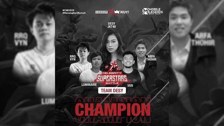 Komika Uus dan tim akhirnya keluar sebagai juara Celebrity Superstars Battle, Minggu (08/11/20). Copyright: © Mahaka Sports