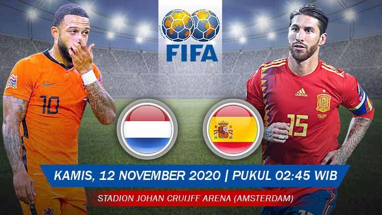 Berikut prediksi untuk pertandingan uji coba internasional antara Belanda vs Spanyol, yang akan digelar Kamis (12/11/20) pukul 02.45 WIB. Copyright: © Grafis: Yanto/Indosport.com