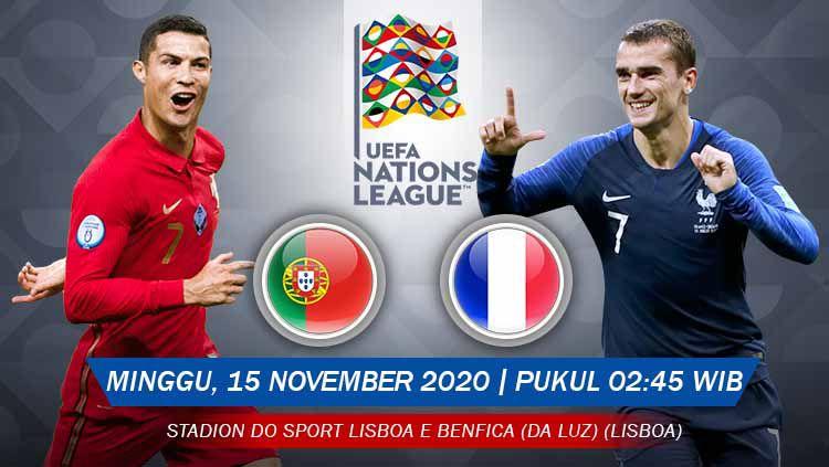 Berikut prediksi pertandingan UEFA Nations League antara Portugal vs Prancis, Minggu (15/11/20) pukul 02.45 WIB. Copyright: © Grafis:Yanto/Indosport.com