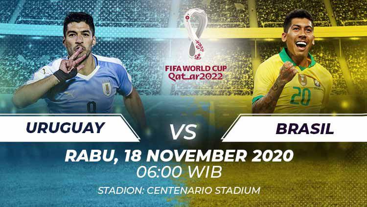 Berikut link live streaming pertandingan kualifikasi Piala Dunia 2022 yang akan mempertemukan Uruguay vs Brasil. Copyright: © Grafis:Frmn/Indosport.com