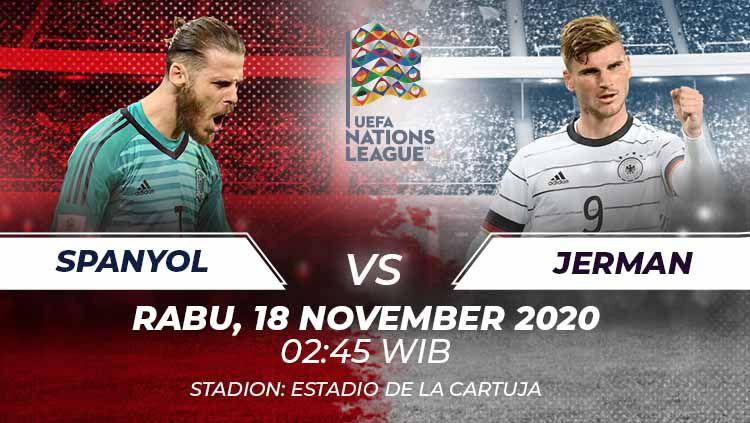 Duel seru bakal kembali tersaji di matchday 6 Grup A4 UEFA Nations League antara Spanyol menghadapi Jerman di Stadion Olimpiade Sevilla, Selasa (18/11/20). Copyright: © Grafis:Frmn/Indosport.com
