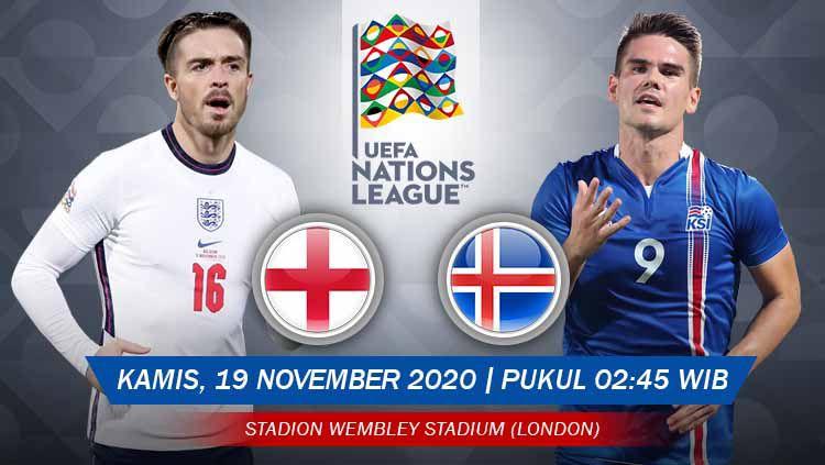 Berikut prediksi pertandingan Inggris vs Islandia di ajang UEFA Nations League 2020 Grup B, Kamis (19/11/2020) pukul 02.45 WIB di Stadion Wembley. Copyright: © Grafis: Yanto/Indosport.com