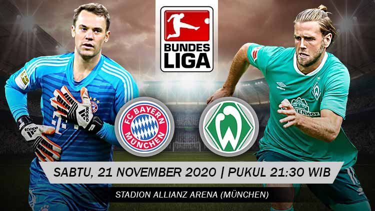 Berikut tersaji prediksi pertandingan sepak bola Bundesliga Jerman 2020-2021 antara Bayern Munchen vs Werder Bremen yang akan berlangsung pada Sabtu (21/11/20). Copyright: © Grafis: Yanto/Indosport.com