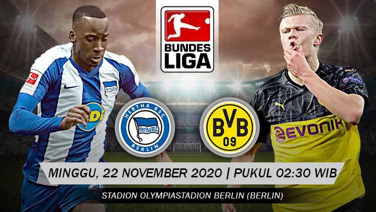 Hertha Berlin akan segera berhadapan dengan Borussia Dortmund pada pekan ke-8 Bundesliga Jerman. Anda bisa menyaksikan pertandingan tersebut melalui live streaming. Copyright: © Grafis: Yanto/Indosport.com