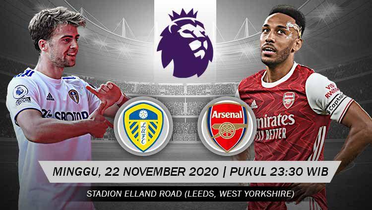 Berikut link live streaming pertandingan Leeds United vs Arsenal. Copyright: © Grafis: Yanto/Indosport.com