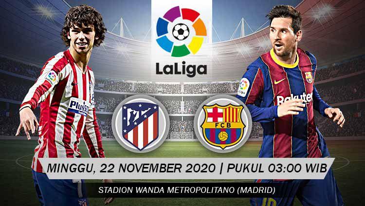 Berikut link live streaming pertandingan LaLiga Spanyol pekan ke-10 yang akan mempertemukan Atletico Madrid vs Barcelona. Copyright: © Grafis: Yanto/Indosport.com