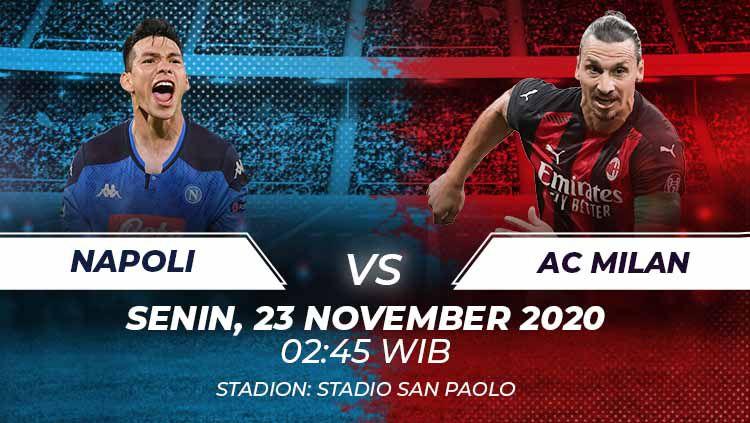 Berikut tersaji link live streaming pertandingan sepak bola Serie A Liga Italia 2020-2021 antara Napoli vs AC Milan yang akan berlangsung pada Senin (23/11/20). Copyright: © Grafis:Frmn/Indosport.com