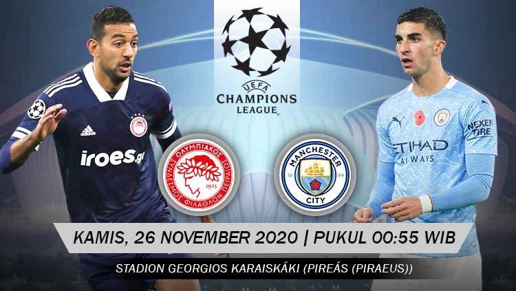 Berikut prediksi pertandingan Liga Champions antara Olympiacos Piraeus vs Manchester City. Copyright: © Grafis: Yanto/Indosport.com