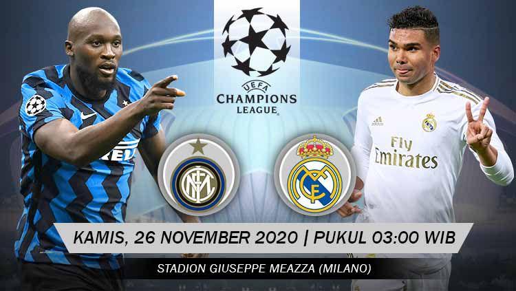 Berikut tersaji prediksi pertandingan Liga Champions 2020-2021 antara Inter Milan vs Real Madrid yang berlangsung pada Kamis (26/11/20) pukul 03.00 WIB. Copyright: © Grafis: Yanto/Indosport.com
