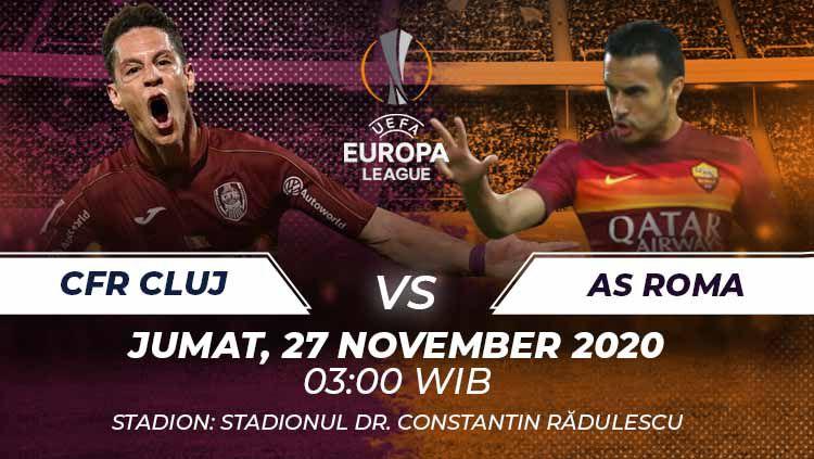 AS Roma berpeluang mengamankan tiket 32 besar saat mengadapi CFR Cluj di matchday 4 fase grup Liga Europa, Jumat (27/11/20). Berikut prediksi laga tersebut. Copyright: © Grafis:Frmn/Indosport.com