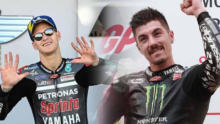 Valentino Rossi memprediksi bagaimana persaingan sengit antara Fabio Quartararo dan Maverick Vinales di tim pabrikan Yamaha pada MotoGP 2021. Copyright: © Grafis:Frmn/Indosport.com