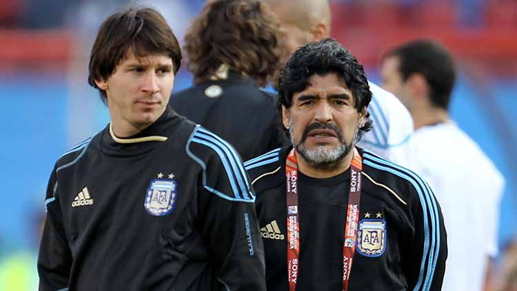 Diego Maradona dan Lionel Messi. Copyright: © Ezra Shaw/Getty Images