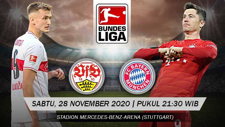 Berikut prediksi pertandingan Bundesliga Jerman 2020/21 pekan ke-9 antara VfB Stuttgart vs Bayern Munchen, Sabtu (28/11/20) malam WIB. Copyright: © Grafis: Yanto/Indosport.com