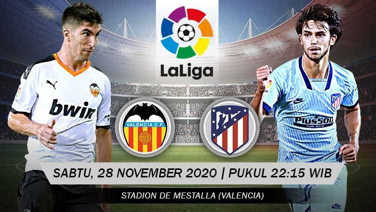 Berikut ini link live streaming pertandingan LaLiga Spanyol antara Valencia vs Atletico Madrid yang dijadwalkan berlangsung Sabtu (28/11/20) pukul 22:15 WIB. Copyright: © Grafis: Yanto/Indosport.com