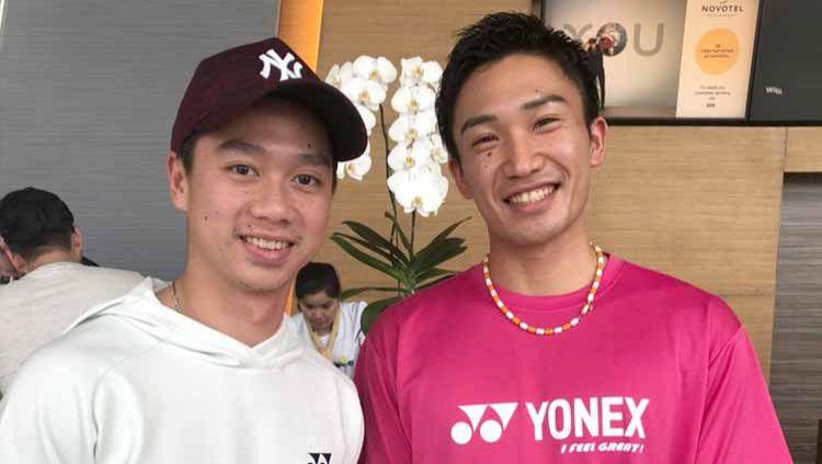 Pebulutangkis Indonesia, Kevin Sanjaya dan pebulutangkis Jepang Kento Momota. Copyright: © Twitter@BadmintonLive1