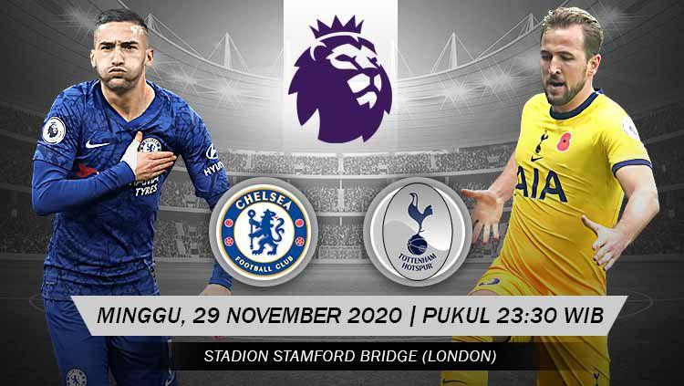 Berikut prediksi pertandingan pekan ke-10 Liga Inggris 2020/21 antara Chelsea vs Tottenham Hotspur di Stamford Bridge, Minggu (29/11/20) WIB. Copyright: © Grafis: Yanto/Indosport.com
