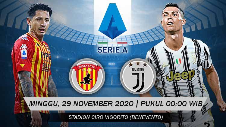 Berikut prediksi pertandingan Serie A Liga Italia antara Benevento vs Juventus. Copyright: © Grafis: Yanto/Indosport.com