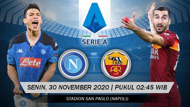 Berikut tersaji prediksi pertandingan Serie A Liga Italia 2020-2021 antara Napoli vs AS Roma yang akan berlangsung pada Senin (30/11/20) pukul 02.45 WIB. Copyright: © Grafis: Yanto/Indosport.com