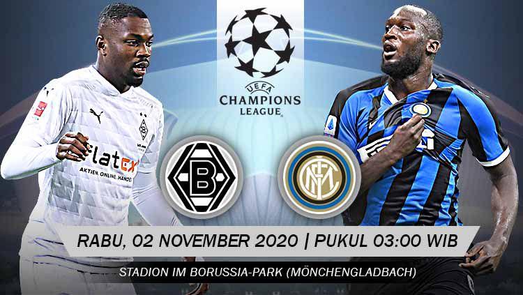 Pertandingan Borussia M'gladbach vs Inter Milan (Liga Champions). Copyright: © Grafis: Yanto/Indosport.com