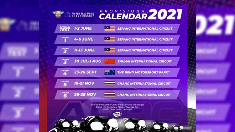 Jadwal sementara ARRC 2021. Copyright: © Asia Road Racing Championship