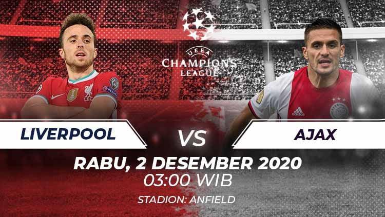Berikut link live streaming pertandingan kelima Grup D Liga Champions 2020/21 yang akan mempertemukan Liverpool vs Ajax Amsterdam. Copyright: © Grafis:Frmn/Indosport.com