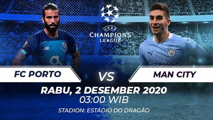 Berikut link live streaming pertandingan Liga Champions Grup C yang akan mempertemukan Porto vs Manchester City. Copyright: © Grafis:Frmn/Indosport.com