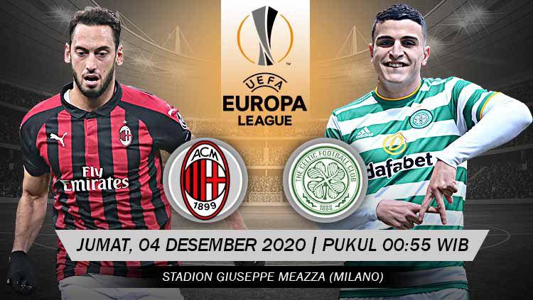 Laga kelima Grup H Liga Europa akan mempertemukan antara AC Milan vs Celtic di San Siro, Jumat (04/12/20) dini hari WIB, berikut duel perlini kedua tim. Copyright: © Grafis: Yanto/Indosport.com