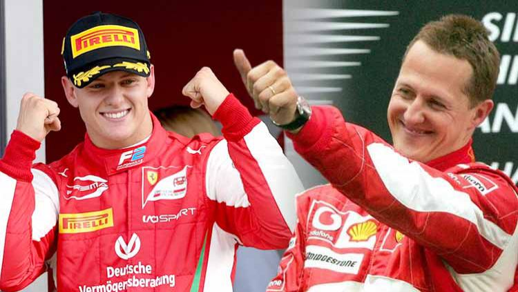 Mick Schumacher dan Michael Schumacher. Copyright: © Charles Coates/Getty Images/dw.com