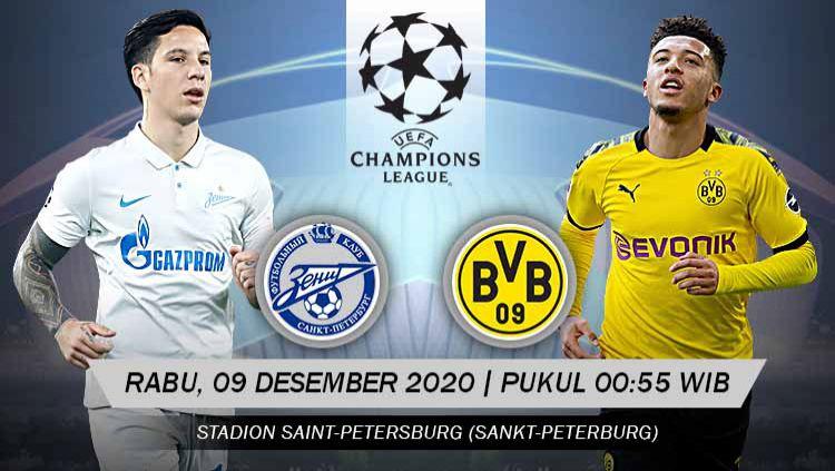 Berikut prediksi pertandingan Zenit St. Petersburg vs Borussia Dortmund di ajang Liga Champions Grup F, Rabu (9/12/2020) pukul 00.55 WIB di Stadion Krestovsky. Copyright: © Grafis: Yanto/Indosport.com