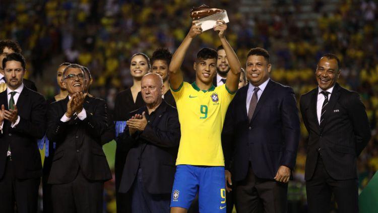 Bintang muda berjuluk The Next Ronaldo Brasil, Kaio Jorge, jadi rebutan Juventus dan AC Milan. Berikut ini 3 fakta mengenai pemain 19 tahun tersebut. Copyright: © Buda Mendes - FIFA/FIFA via Getty Images