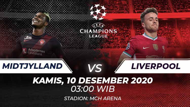 Berikut prediksi pertandingan FC Midtjylland vs Liverpool di ajang Liga Champions Grup D, Kamis (10/12/2020) pukul 00.55 WIB di MCH Arena. Copyright: © Grafis:Frmn/Indosport.com