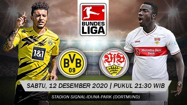Berikut tersaji prediksi pertandingan Bundesliga Jerman 2020-2021 antara Borussia Dortmund vs VfB Stuttgart yang akan berlangsung di Signal Iduna Park. Copyright: © Grafis: Yanto/Indosport.com
