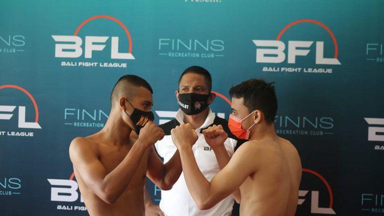 Dua orang fighter yang akan bertarung pada ajang Bali Fight League 2020 di  Finns Recreation Club Badung, Sabtu (12/12/2020). Copyright: © Ofisial BFL