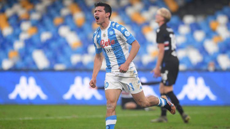 Hirving Lozano selebrasi usai mencetak gol di laga Napoli vs Sampdoria Copyright: © SSC NAPOLI/SSC NAPOLI via Getty Images