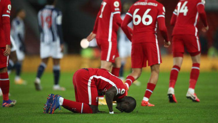 Selebrasi gol Sadio Mane di laga Liga Inggris, Liverpool vs West Bromwich Albion. Copyright: © Nick Potts/PA Images via Getty Images