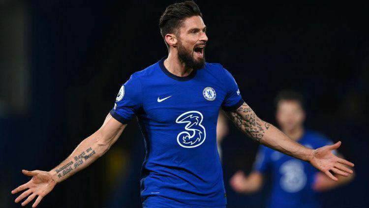 Selebrasi gol Olivier Giroud di laga Chelsea vs Aston Villa.. Copyright: © Darren Walsh/Chelsea FC via Getty Images