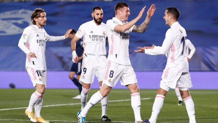 Selebrasi Pemain Real Madrid Usai Mencetak Gol ke Gawang Celta Vigo Copyright: © twitter.com/realmadriden