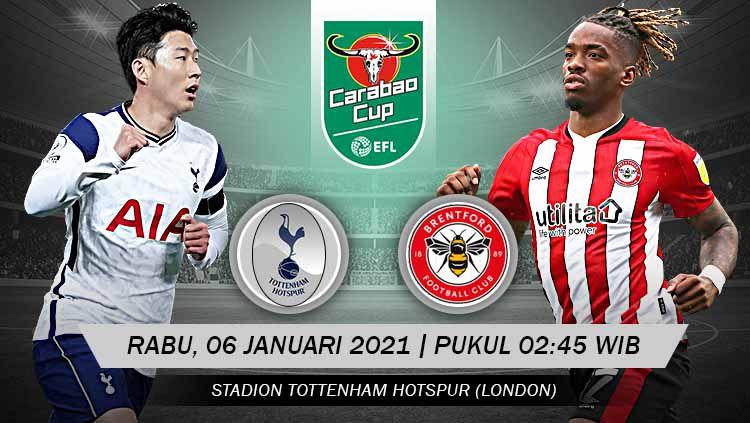 Berikut link live streaming pertandingan semifinal Carabao Cup atau Piala Liga Inggris antara Tottenham Hotspur vs Brentford. Copyright: © Grafis: Yanto/Indosport.com