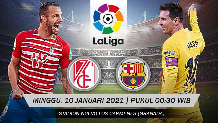 Berikut link live streaming pertandingan LaLiga Spanyol 2020/21 pekan ke-18 antara Granada vs Barcelona, Minggu (10/01/21) pukul 00:30 dini hari WIB. Copyright: © Grafis: Yanto/Indosport.com