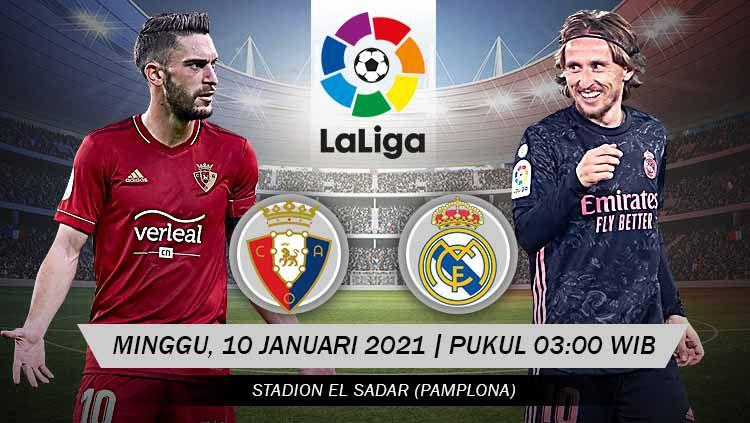Berikut tersaji link live streaming pertandingan sepak bola LaLiga Spanyol 2020-2021 antara Osasuna vs Real Madrid yang akan berlangsung pada Minggu (10/01/21). Copyright: © Grafis: Yanto/Indosport.com